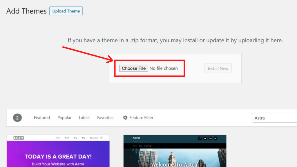 How to Install a Theme by using the Upload Method from WordPress Admin